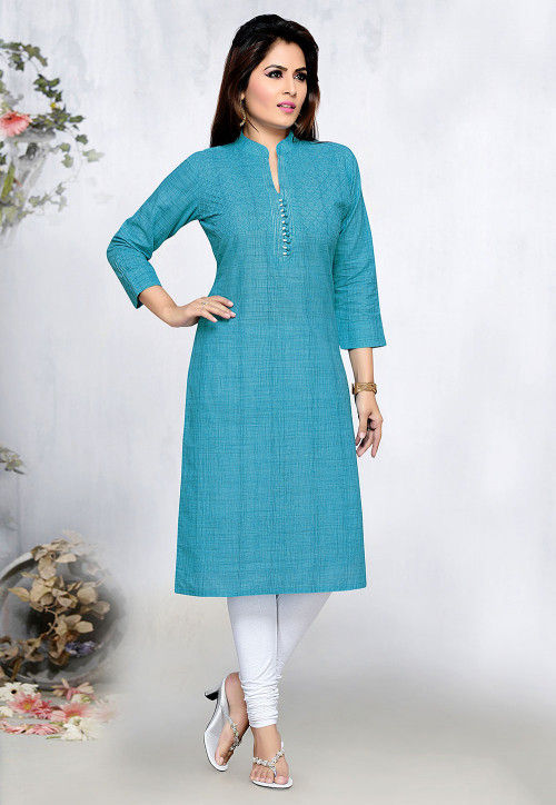 Pin Tucked Poly Cotton Straight Kurta in Teal Blue