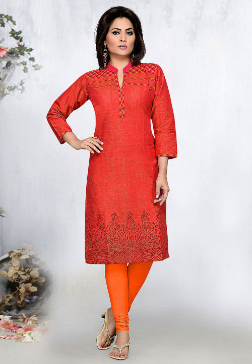 Block Printed Poly Cotton Straight Kurta in Red