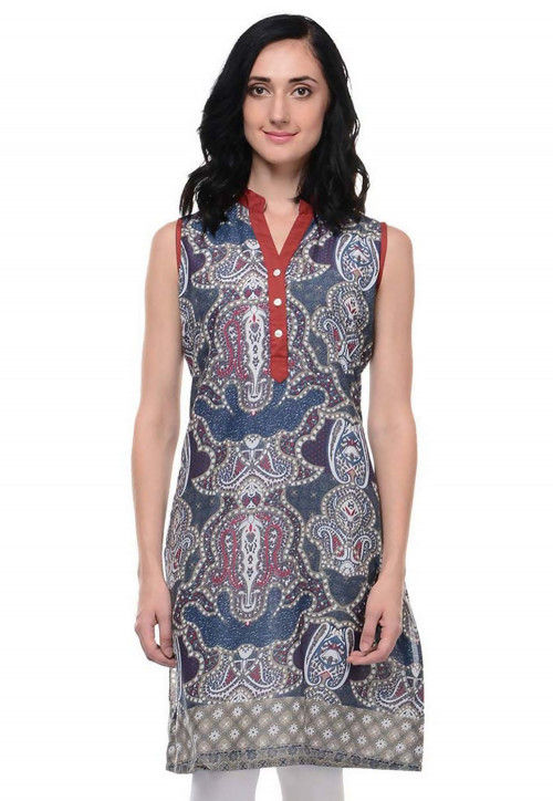 Abstract Printed Cotton Kurti in Grey