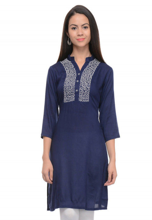 Embroidered Rayon Kurti in Navy Blue