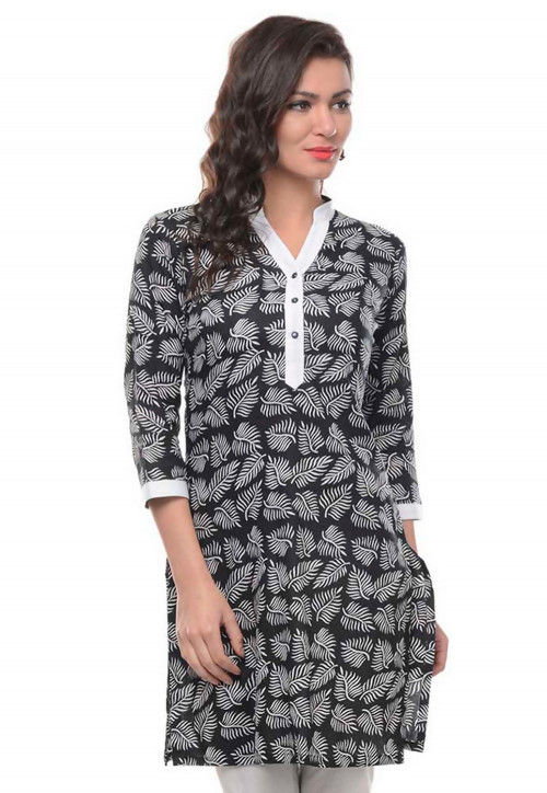 Foliage Printed Cotton Kurti in Black