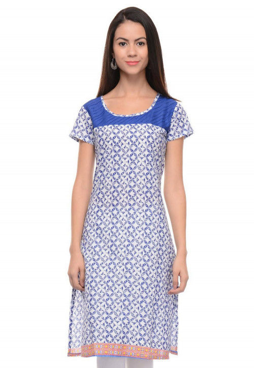 Abstract Printed Cotton Kurti in White