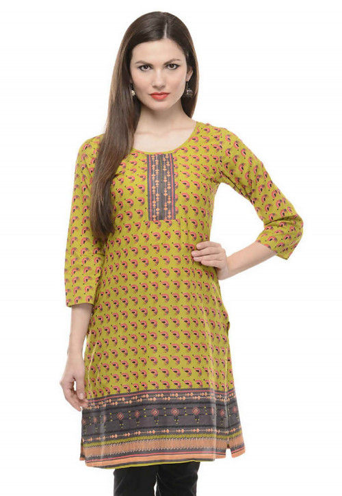 Abstract Printed Cotton Kurti in Olive Green