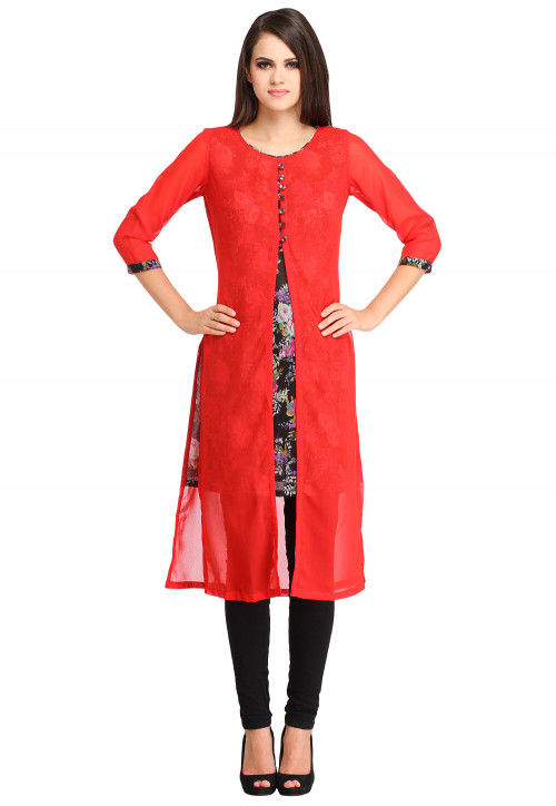 Slitted Georgette Kurta in Red and Black