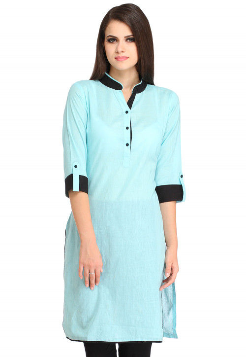 Contrast Trim Cotton Kurta in Sky Blue