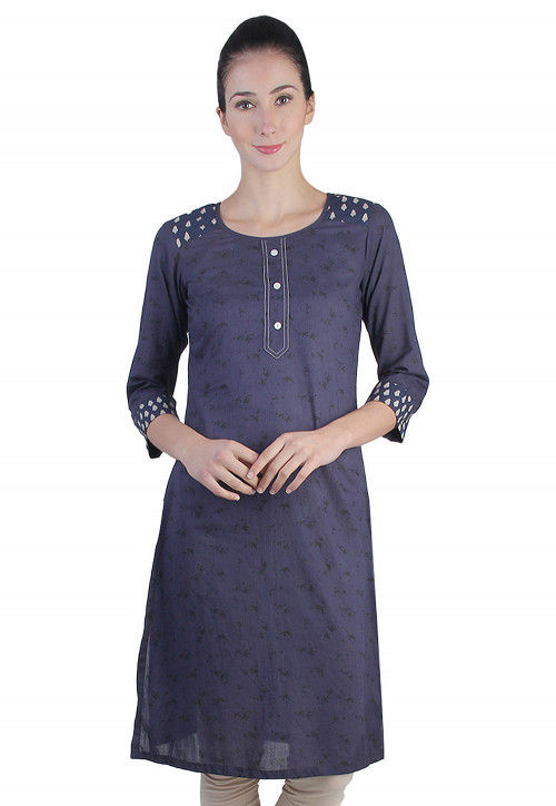 Abstract Printed Cotton Kurta in Blue