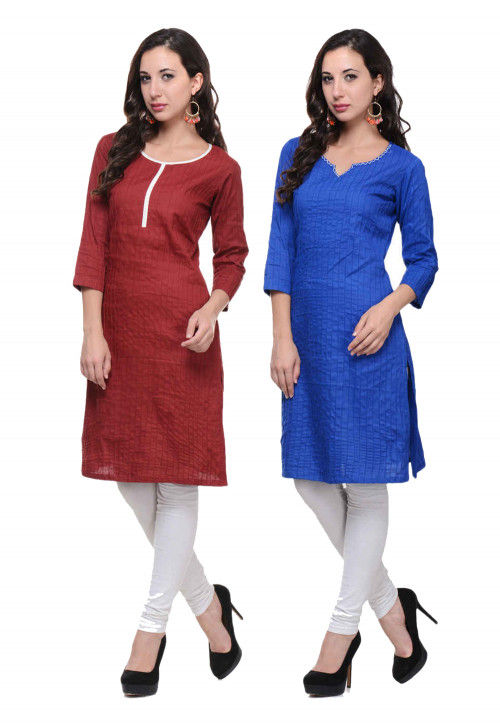 Pintucked Cotton Combo of Straight Kurta in Maroon and Royal Blue