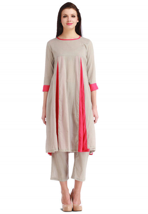 Plain Flared Cotton Kurta in Grey