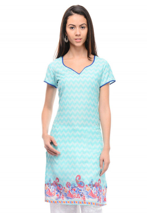Printed Cotton Kurti In Turquoise And White