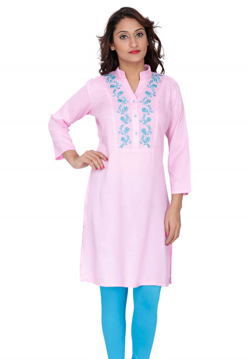 Embroidered  Rayon Kurti in Baby Pink