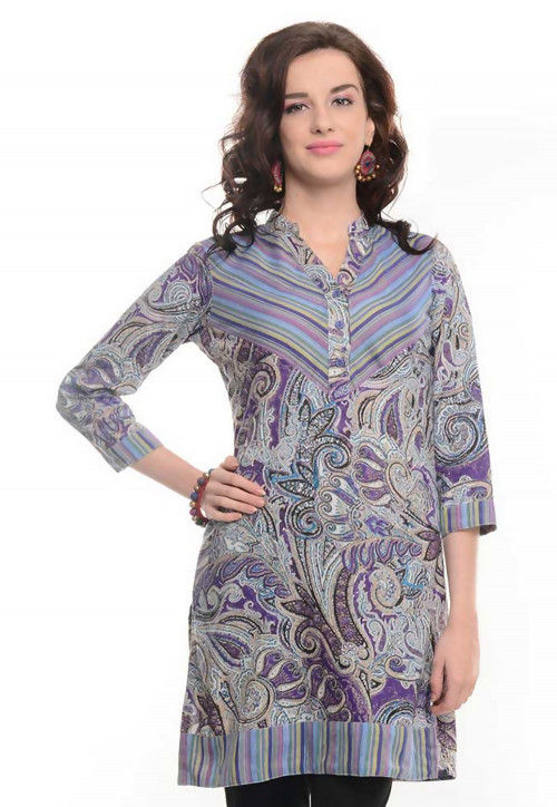 Abstract Printed Cotton Kurti in Light Purple