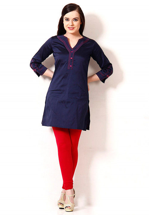 Solid Color Cotton Silk Kurti in Navy Blue