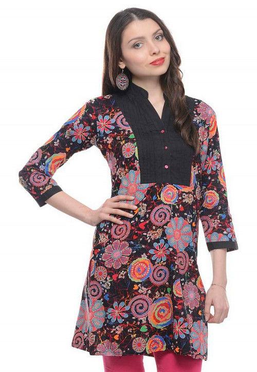 Abstract Printed Cotton Kurti in Black