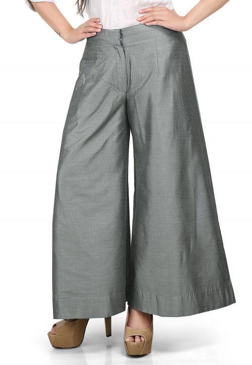 da05e76d6f Flared Cotton Silk Palazzo Pant in Grey