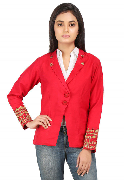 Embroidered Cotton Silk Jacket in Coral