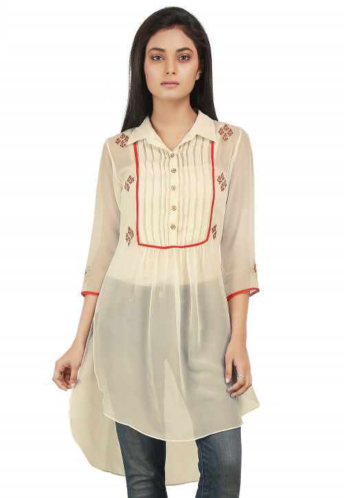 Embroidered Georgette High Low Tunic in Off White