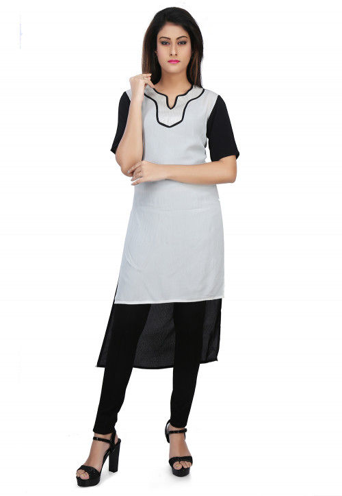 Plain Crepe and Georgette High Low Kurti in Black and White