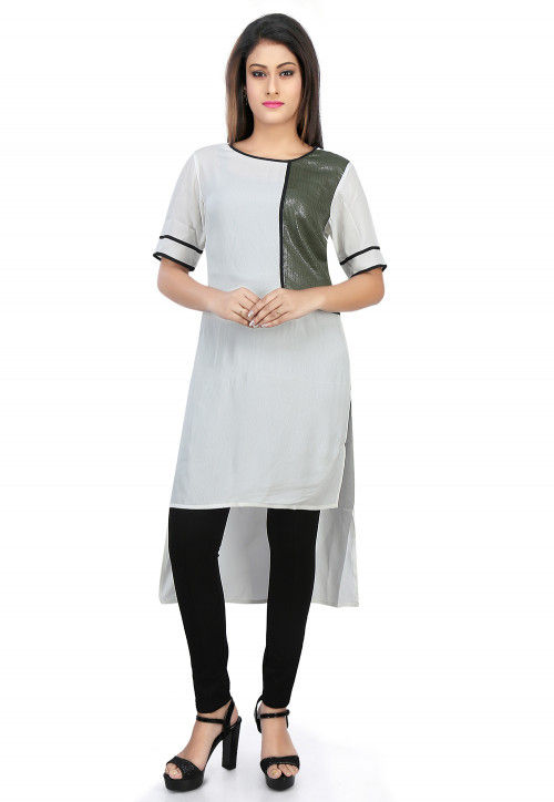 Plain Crepe and Georgette High Low Kurta in White