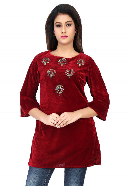 Embroidered Velvet Top in Maroon