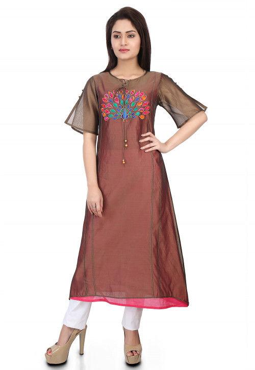 Embroidered Chanderi Silk Kurta in Brown