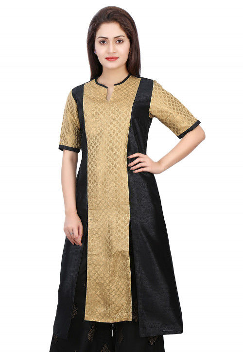 Woven Brocade Silk and Dupion Silk Kurta in Golden and Black