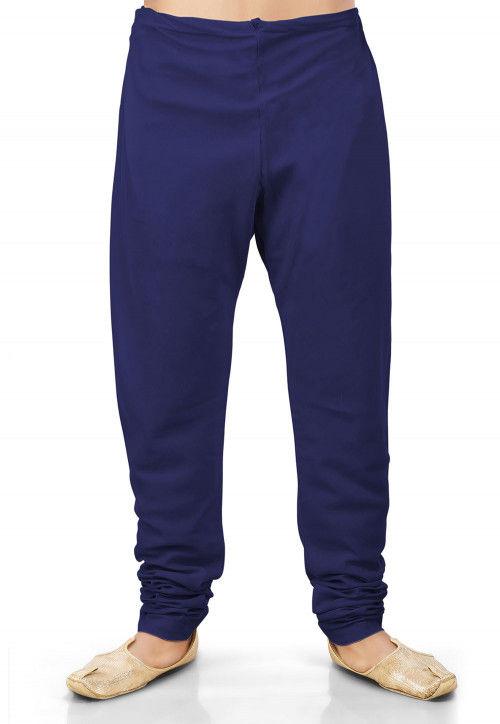 Plain Cotton Silk Churidar in Navy Blue