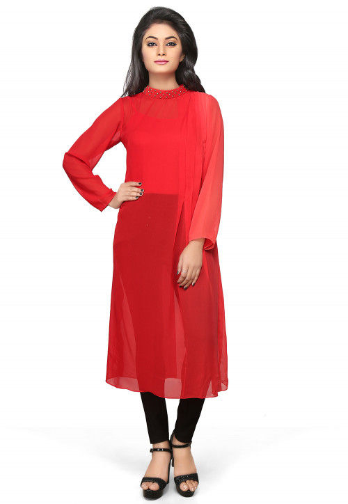 Plain Faux Georgette Long Kurta in Ombre Red