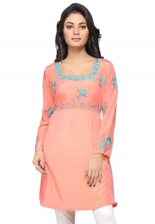Embroidered Crepe A Line Tunic in Peach