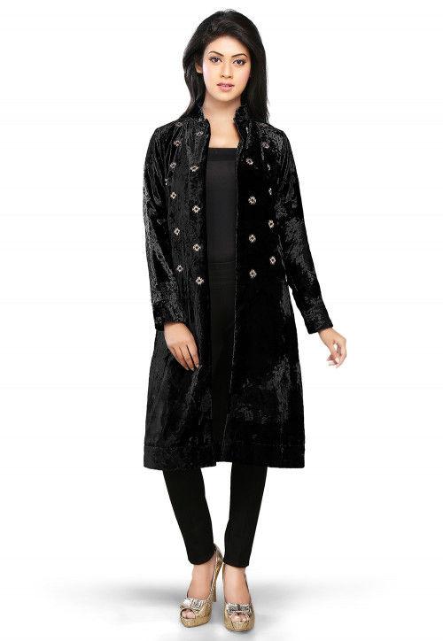 Velvet Long Jacket in Black