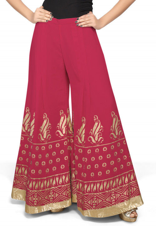 Foil Printed Georgette Palazzo in Magenta