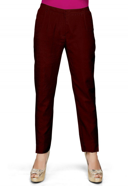 Art Silk Straight Pant in Maroon