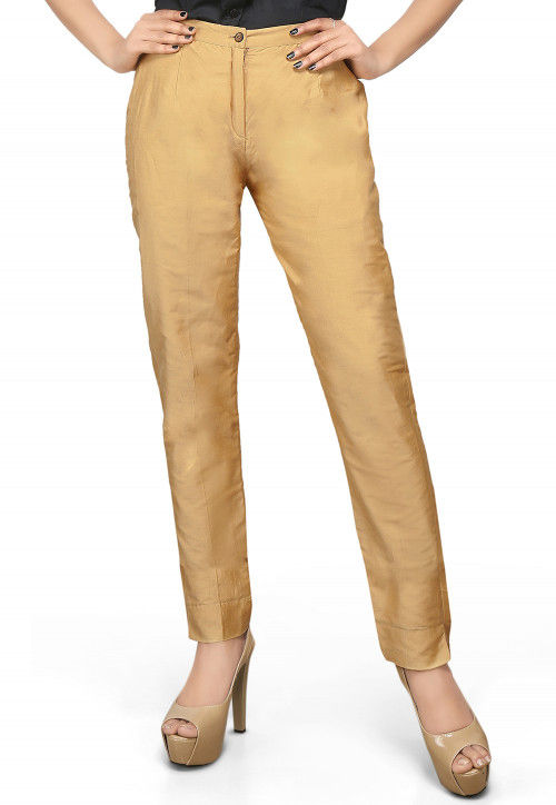 Cotton Silk Straight Pant in Beige