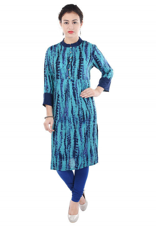Tie Dye Printed Rayon Straight Kurta in Light Blue