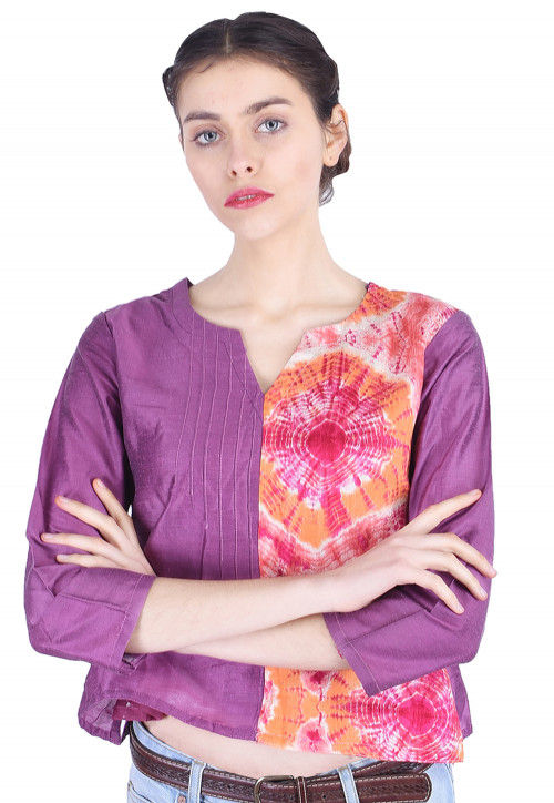 Tie N Dye Cotton Silk Top in Purple and Multicolor