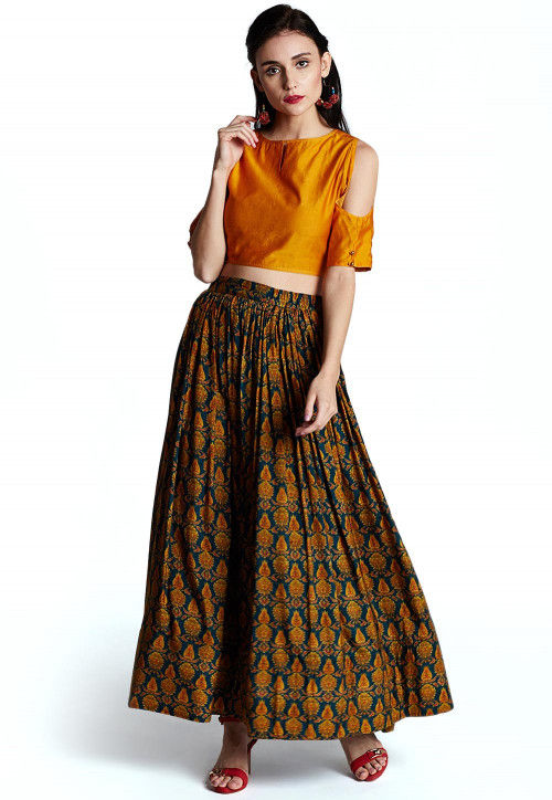 Printed Chanderi Silk Crop Top Set in Mustard