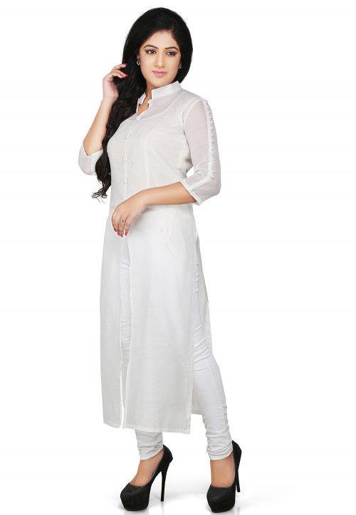 Plain Cotton Chanderi Long Kurta in White