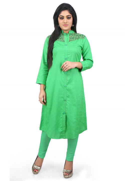 Plain Cotton Long Kurta in Green