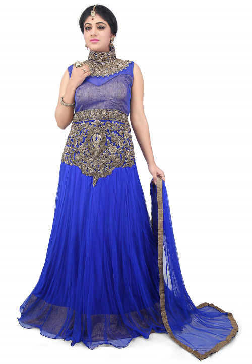 Hand Embroidered Net Gown in Royal Blue