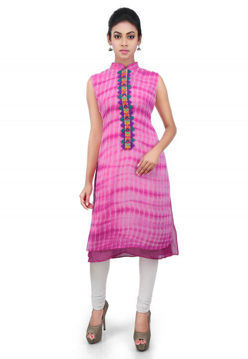 Embroidered Placket Georgette Long Kurta in Pink