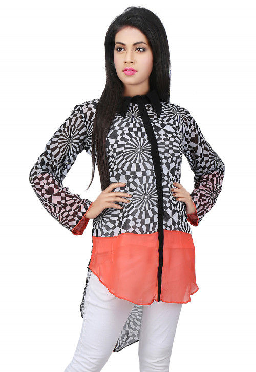Printed Georgette Asymmetric Top in Black and White