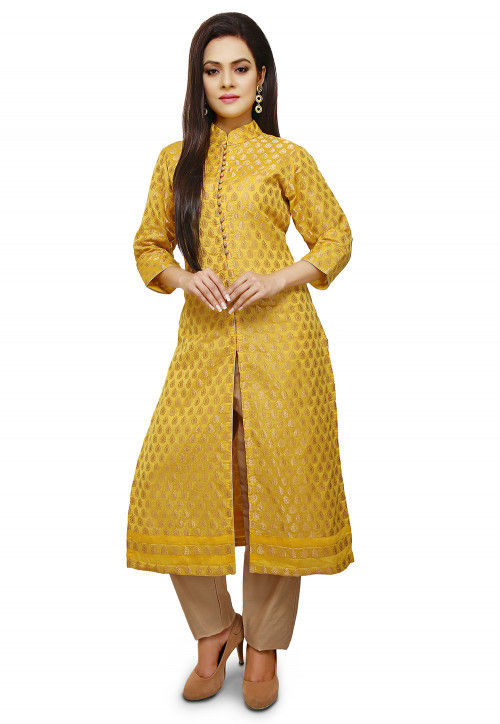 Woven Chanderi Silk Front Slit Long Kurta in Yellow