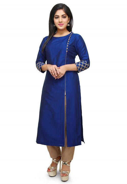 Plain Cotton Silk Side Slit Long Kurta in Royal Blue