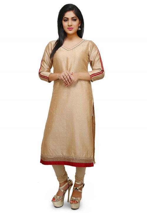 Plain Bhagalpuri Silk Straight Suit in Beige