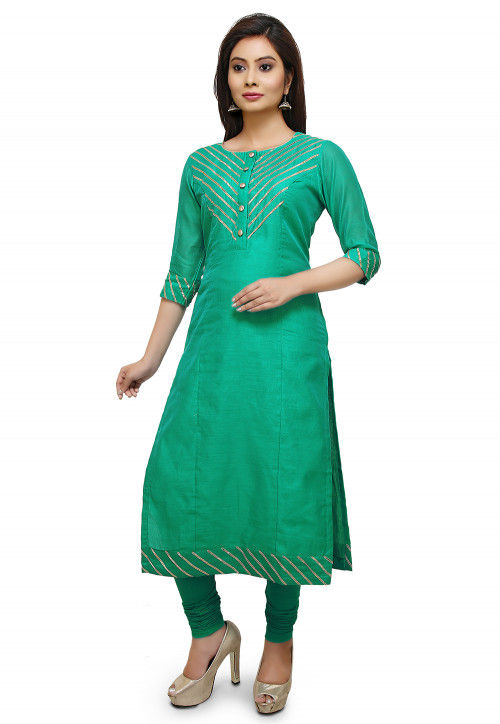 Embroidered Art Silk Straight Suit in Sea green