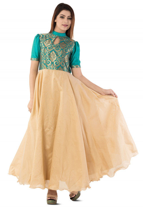Woven Yoke Dupion Silk Circular Gown in Beige and Teal Blue