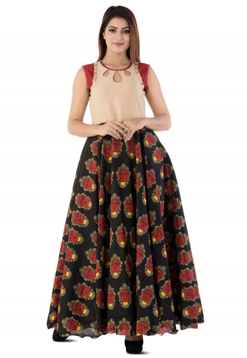 Kalamkari Printed Cotton Silk Circular Gown in Black and Beige