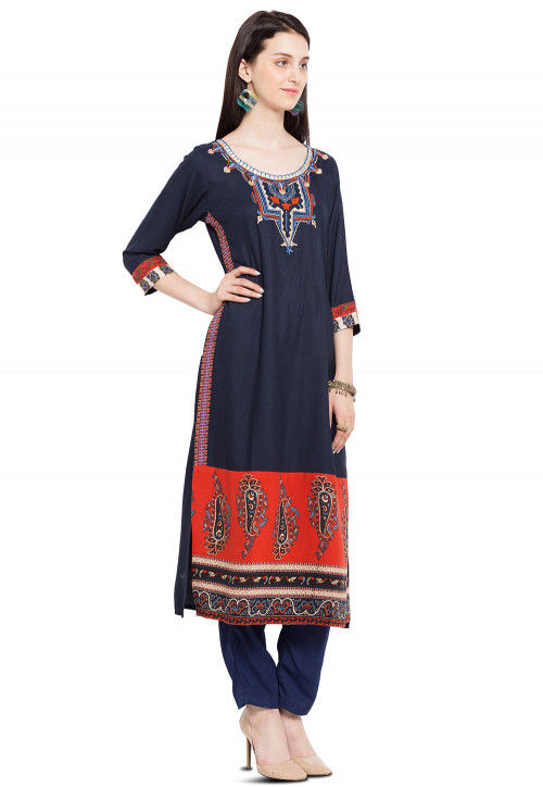 Embroidered Cotton Kurta in Navy Blue