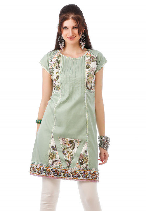 Printed Cotton Kurta in Green