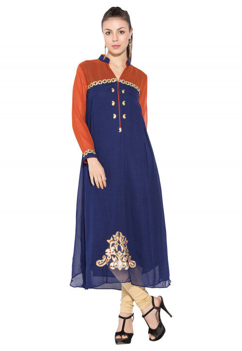 Embroidered Georgette Long Kurta In Navy Blue And Rust