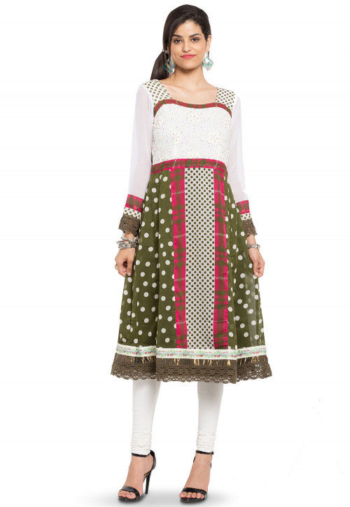 Embroidered Georgette A Line Kurta in Olive Green and Off White